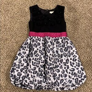 Girls Leopard Print Glitter Dress Size 6x/7
